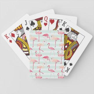 Retro Flamingos On Mint Stripes Poker Deck