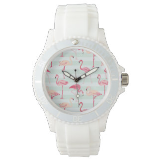 Retro Flamingos On Mint Stripes Watches
