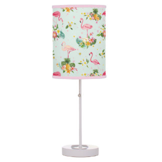 Retro Flamingos & Tropical Plants Pattern Table Lamp