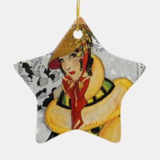 Retro Flapper Christmas Greeting Ceramic Ornament