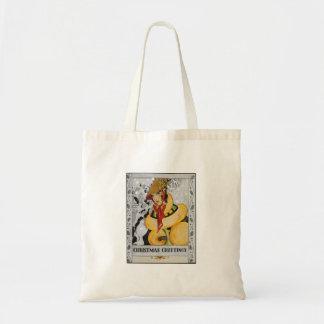 Retro Flapper Christmas Greeting Tote Bag