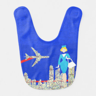 Retro Flight Attendant Baby Bib