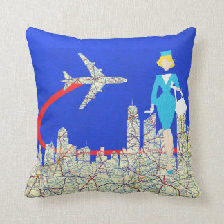 Retro Flight Attendant Throw Pillow