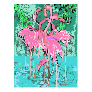 Retro Flock of Flamingo Birds Postcard Flamingos