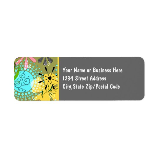 Retro Floral 1 Avery Return Address Labels