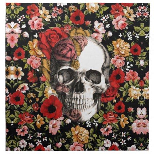 Rétro floral avec le motif de crâne serviette imprimée