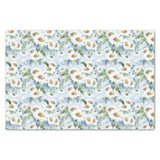Retro Floral/Blue Daisies Pattern Tissue Paper