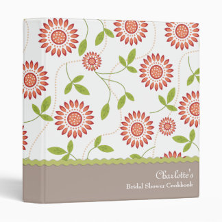 Retro Floral Bridal Shower Cookbook Recipe Binder