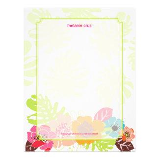 Retro Floral, choose your fav background color Letterhead Template