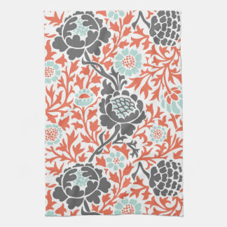 Retro Floral Damask Kitchen Towel