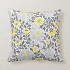 Retro Floral Damask Throw Pillow