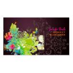 Rétro floral de PixDezines + merlot Carte De Visite Standard