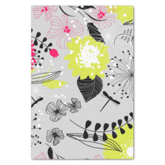 Retro Floral Design in Pink & Yellow Tissue Paper