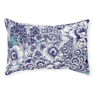 Retro Floral Dog Bed, Blue Pet Bed