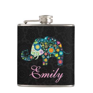 Retro Floral Elephant Design Flasks