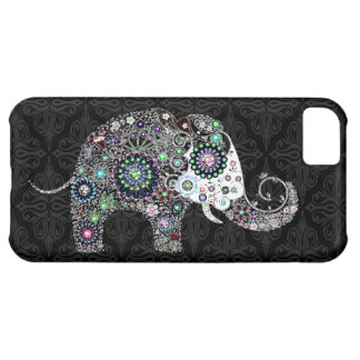 Retro Floral Elephant With Colorful Diamond Stids iPhone 5C Cases