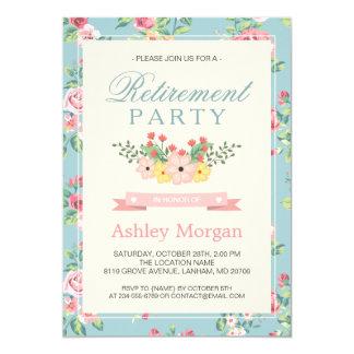 Retro Floral Feminine Women's Retirement Party Card