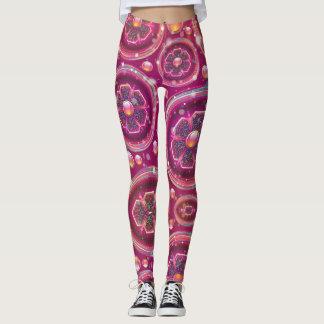 Retro Floral Glitter design Leggings
