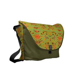 Retro Floral in Green, Orange, and Brown Messenger Bag