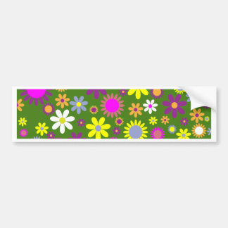 Retro Floral Pattern - 70's Flower Wallpaper Bumper Sticker
