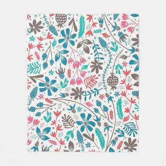 Retro Floral Pattern Fleece Blanket