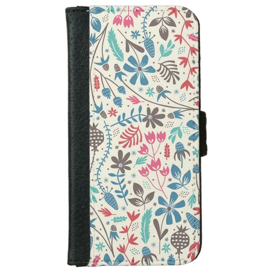 Retro Floral Pattern iPhone 6 Wallet Case