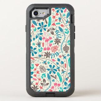 Retro Floral Pattern OtterBox Defender iPhone 8/7 Case