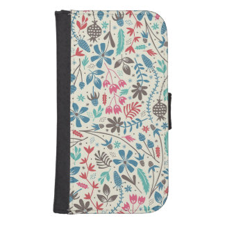 Retro Floral Pattern Samsung Galaxy S4 Wallet Case