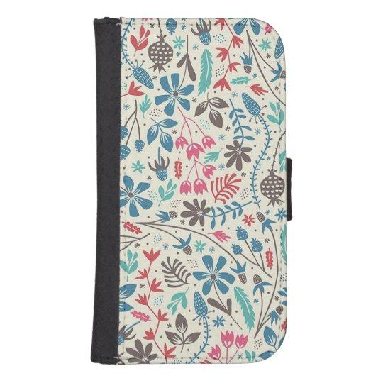 Retro Floral Pattern Samsung Galaxy S4 Wallet Case