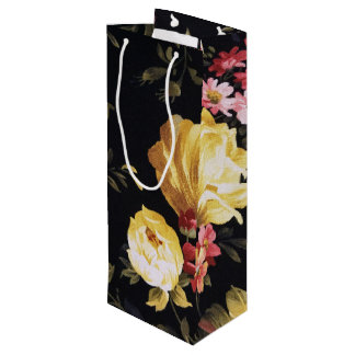 retro floral pattern wine gift bag