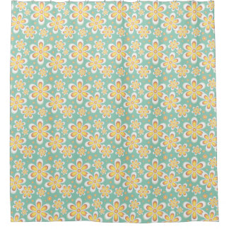Retro Floral Pattern Yellow Green