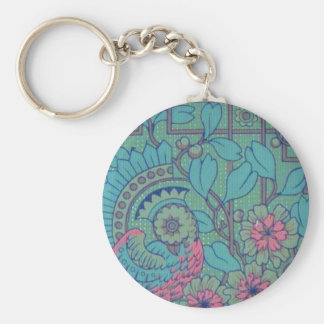 Retro Floral Peacock Basic Round Button Keychain