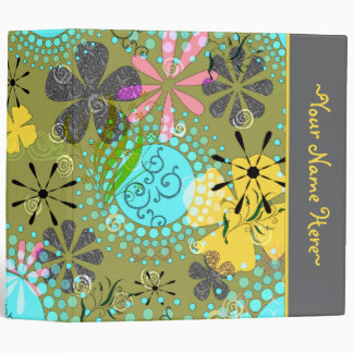 Retro Floral Personalized Avery Binder~ 2 inch Vinyl Binder