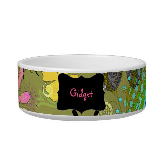 Retro Floral Personalized Pet Bowls