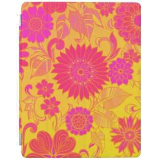 Retro Floral Pink and Yellow iPad Cover