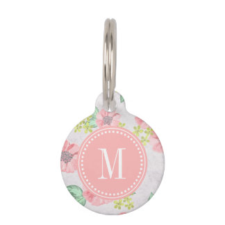 Retro Floral Pink Watercolor Personalized Pet Tag