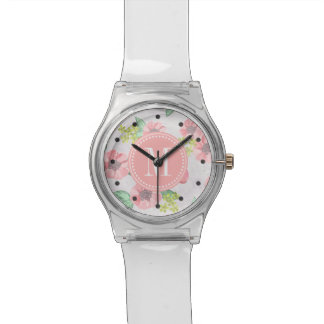 Retro Floral Pink Watercolor Personalized Watch