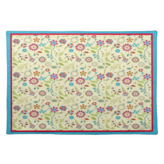 Retro Floral ~ Red & Turquoise American MoJo Place Placemats