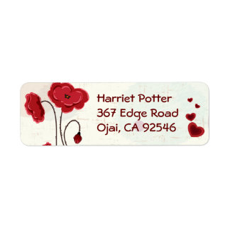 Retro Floral Roses With Thorns Vector Return Address Label