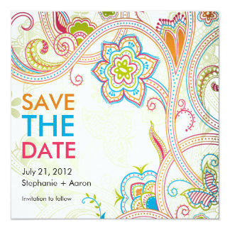 Retro Floral Save The Date Card