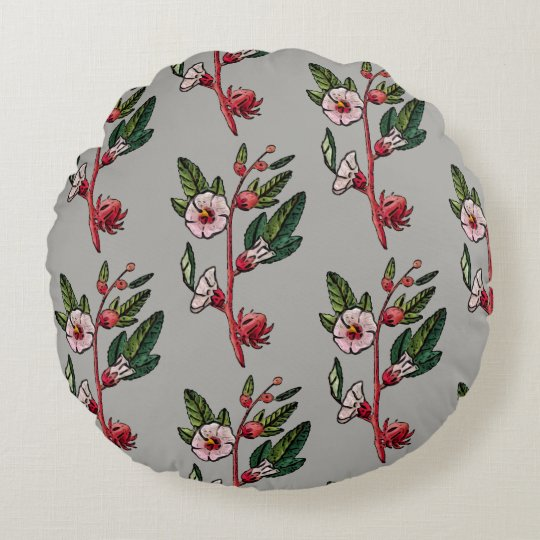 Retro Floral Sprig Round Throw Pillow