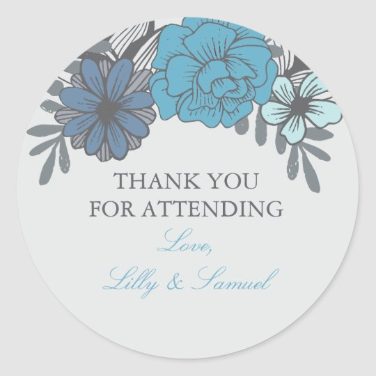 Retro Floral, Wedding Stickers Thank You Stickers