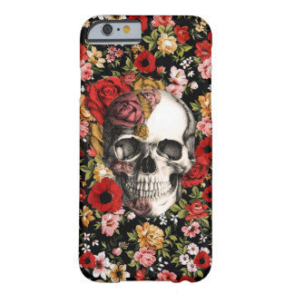 Retro florals with skull pattern barely there iPhone 6 case