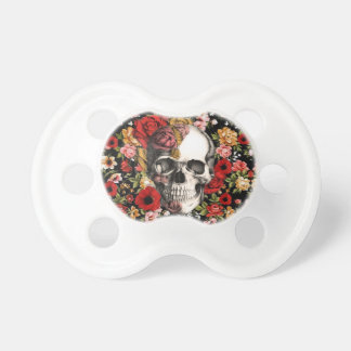 Retro florals with skull pattern pacifier