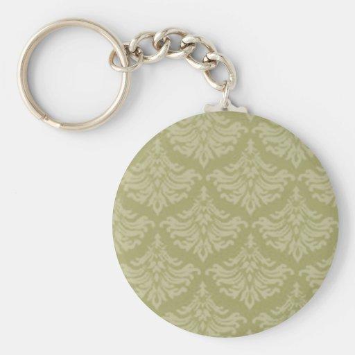 Retro Flourish Sage Green Key Chain