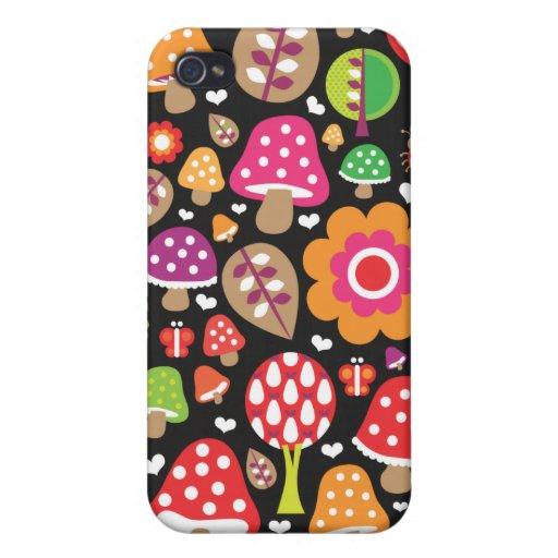 Retro flower and mushroom pattern iphone case iPhone 4 case