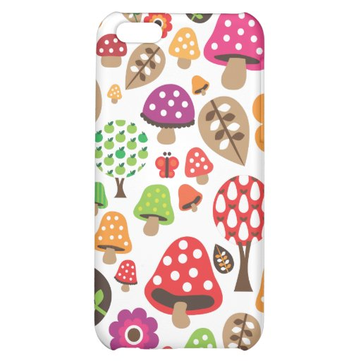 Retro flower and mushroom pattern iphone case iPhone 5C case