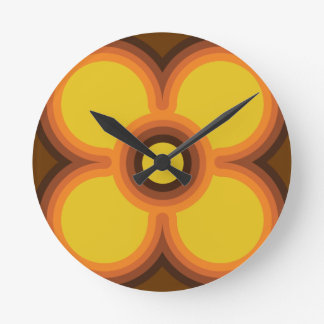 retro flower design round clock