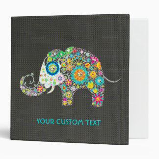 Retro Flower Elephant Black Diamond Texture Vinyl Binder