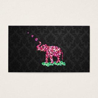 Retro Flower Elephant Pink Sakura Black Damask Business Card